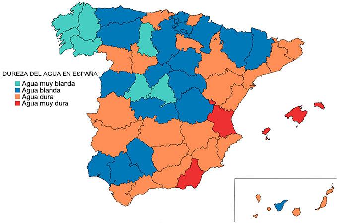 Mapa dureza del agua en España