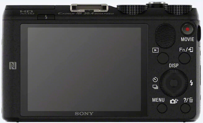 Vista de la parte trasera de la dsc-hx60 en donde se ve su pantalla
