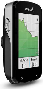 Garmin Edge 820 visto desde un lateral con una gráfica verde en su pantalla