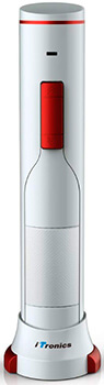 Sacacorchos eléctrico iTronics de color blanco y rojo con la silueta de una botella de vino