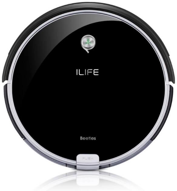 iLife A6 robot aspirador opiniones precio redondo negro brillante, con cepillo lateral y otro en espiral.