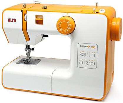 Esta es una máquina de coser barata de color amarilla de la marca Alfa