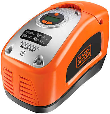 Mejor compresor de aire para coche Black and Decker ASI300-QS de color naranja