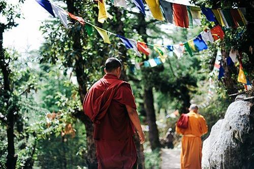 Feng shui en casa monjes caminando por la montaña