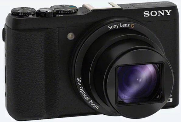 Cámara de fotos Sony dsc-hx60 de color negro vista en diagonal