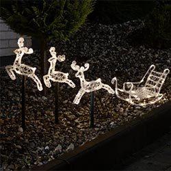 Figura navideña luminosa trineo con renos