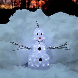 Pequeña figura LED Crystal Snowman